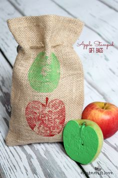 These Apple Stamped Gift Bags are the perfect gift!  Add some fresh picked apples and apple recipe of your choice!  via createcraftlove.com ...