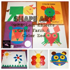 Shape Art with Lois Ehlert's Color Farm and Color Zoo - great math art fun