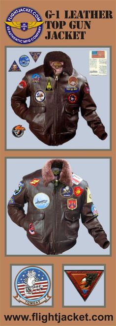 The G-1 Navy Top Gun flight jacket as seen in the movie. This is a faithful reproduction of Maverick's jacket, including all of the patches. It is the G-1 goatskin in seal brown with a medium brown mouton collar. It is available with single entry pockets (military spec) or with hand warmer pockets (no extra charge). www.flightjacket.com Leather clothing MADE IN THE USA