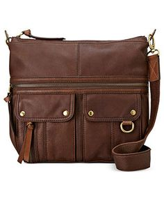 Fossil Handbags, Morgan Leather Top Zip Crossbody - Fossil Handbags - Handbags & Accessories - Macy's