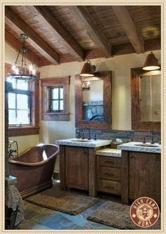 Rustic bathroom. This is the most perfect bathroom i have ever seen in my life. that tub must have cost a fortune.