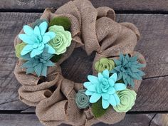 "Succulent Burlap Wreath, Felt Succulent, Faux Succulent, Summer Wreath, Sage Greeen and Aqua - 15"""