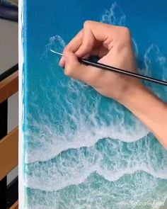 Small Canvas Art, Diy Canvas Art, Watercolor Art Lessons, Canvas Painting Tutorials, Art Painting Gallery, Art Drawings Beautiful, Artsy, How To Paint Water, Abstract Ocean Painting
