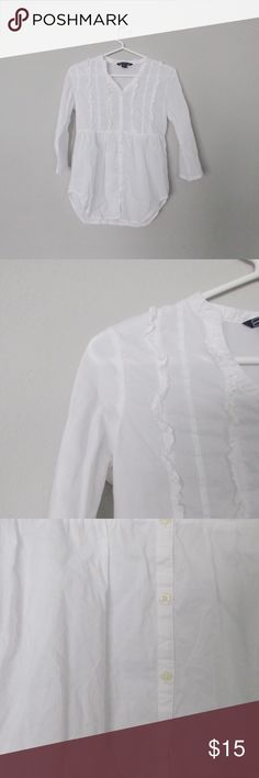 American Living White Button-Up Title: White Button-up  Condition: Pre-owned but in excellent condition.  Color: White  Type:  Size: Girls 12-14  Brand: American Living American Living Shirts & Tops Button Down Shirts