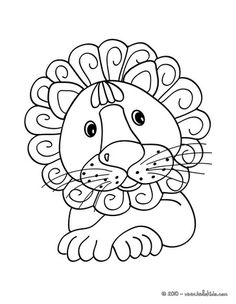 kawaii coloring page.  Cute lion.  Other animals at this site too.