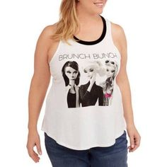 Plus Size Project Karma Women's Plus Barbie Doll Brunch Graphic Tank Top, Size: 3XL, White