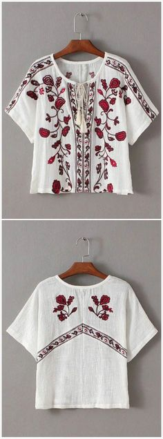 Women's Floral Embroidery Print V Neck Blouse.Check more from www.oasap.com .
