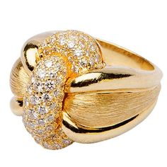 Henry Dunay Diamond Gold Ring | From a unique collection of vintage fashion rings at https://www.1stdibs.com/jewelry/rings/fashion-rings/
