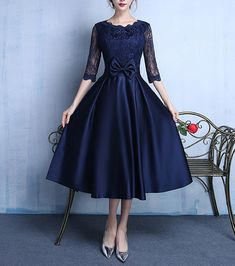 Navy Blue Mother of the Bride Dresses Lace Satin Half Sleeve Bowknot Belt Custom Half Sleeve Dresses, Prom Dresses With Sleeves, Bride Dresses, Half Sleeves, Tea Length Bridesmaid Dresses, Tea Length Dresses, Asian Wedding Dress Pakistani, Green Homecoming Dresses, Cute Dresses For Party