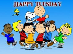 Happy Monday With Peanuts Gang Holding Charlie Brown and Snoopy On Their Shoulders With Woodstock Flying Nearby Cartoon Cartoon, Cartoon Quotes, Cartoon Characters, Peanuts Characters, Happy Tuesday Morning, Good Morning Happy, Happy Monday, Snoopy Love, Tuesday Greetings