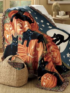 Stay cozy this Halloween with this festive throw blanket. Designed with black cats and pumpkins, it's the perfect way to stay in the spooky spirit. Get yours before they're gone!