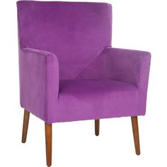 Lend a touch of midcentury-inspired flair to your living room or den with this lovely arm chair, showcasing purple upholstery and exposed maple-finished legs...
