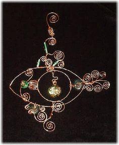 MJ Crafts Design Studio  garden ornament  spirals, copper, beads