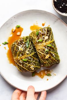 Cabbage rolls are easy to make and delicious - fragrant with garlic, ginger, five spice and toasted sesame oil. Naturally vegan and gluten-free. New Recipes, Vegan Recipes, Vegan Cabbage Recipes, Vegan Dinners, Vegan Cabbage Rolls, Chinese Spices, Chinese Food, Bar Restaurant Design, Lazy Cat Kitchen
