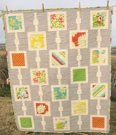 Dots & Boxes quilt made with Heather Bailey prints, $110