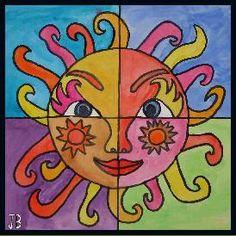 4 part sun art Middle School Art, Art School, Artists For Kids, Art For Kids, Drawing Sheet, 5th Grade Art, Warm And Cool Colors, Ecole Art, Sun Art