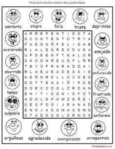 feelings emotions spanish vocabulary word search puzzle worksheet