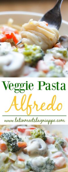 Veggie Pasta Alfredo via /latinmeetsla/ Side Dish Recipes, Veggie Recipes, Pasta Recipes, Vegetarian Recipes, Dinner Recipes, Cooking Recipes, Healthy Recipes, Dinner Ideas, Meal Ideas