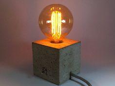 """Tischlampen - """"cuboLED"""" Betonlampe.  ein Designerstück von Uniikat-Shop bei DaWanda ---------------------- Lamp, Lampe, Beton, Concrete, Bulb, Fabric Cable, concrete lamp, industrial, Table, Tisch, Textilkabel, Tischlampe, Nachttischlampe"""