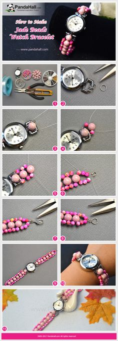 How to Make Jade Beads Watch Bracelet With some jade beads and a watch head, you can make a fashionable and useful watch bracelet!