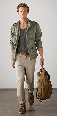 County Road - pistachio green jacket, grey low crew neck t-shirt, rolled brown leather belt, khaki pant, brown chukka boots.he needs to get into the pants! Moda Safari, Basic Fashion, Urban Fashion, Rugged Style, Fashion Moda, Mens Fashion, Rugged Men's Fashion, Fashion Menswear, Brown Chukka Boots