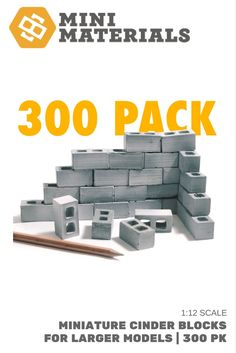 1:12 Scale | Mini Materials' signature 1:12 miniature cinder blocks. 300 flat face blocks - perfect for larger scale models.