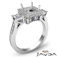 Pave Pre Set Diamond 3 Stone Engagement Round Princess Ring 18K White Gold 1 1ct | eBay