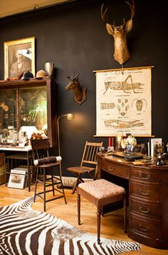 Vintage, quirky, evocative. Everything stands out against chocolate brown walls. Hollister and Porter Hovey