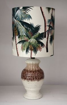 vintage lamp palm tree barkcloth shade by homeworksdesignstore, $295.00