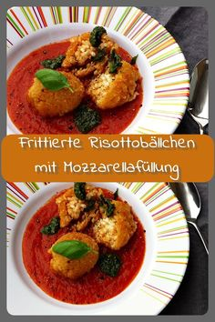 Frittierte Risottobällchen mit Mozzarellafüllung - meat meets me Mozzarella, Meat, Chicken, Food, Party, Deep Frying, Vegetarian Meals, Cooking Recipes, Food Food