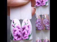 нежные РОЗЫ на ногтях РОЗЫ в АКВАРЕЛЬНОЙ технике Дизайн ногтей гель лаком - YouTube