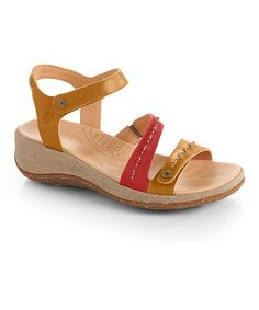 Look what I found on #zulily! Fawn & Crimson Vista Ankle Leather Wedge Sandal #zulilyfinds