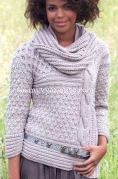 Пуловер и хомут ложным патентным узором Размеры: 36/38 (40/42) 44/46  http://shemyvyazaniya.shemyuzorov.com/page/pulover-i-homut-lozhnym-patentnym-uzorom