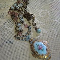 Vintage Locket  Necklace  Gorgeous Antique Blue by Vintagearts