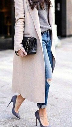 nude coat. denim. grey heels.
