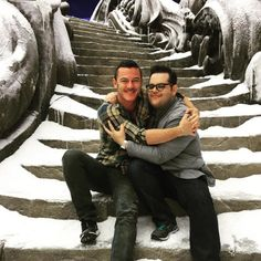 Josh Gad Embraces Luke Evans After Wrapping Walt Disney's Live-Action Beauty and the Beast—See the Picture!  Josh Gad, Luke Evans