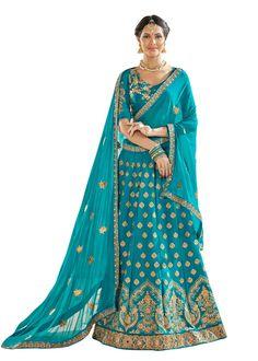 Latest wedding wear Turquoise lehenga choli in Art Silk with Dupatta