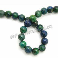 Gemstone beads, Chrysocolla, Green, blue and brown, Smooth round, Approx 10mm, Hole: approx 1mm, 40pcs per strand, Sold by strands