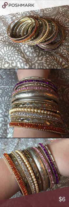 Stack bangle bracelets 14 bangle bracelets, sold as a set Jewelry Bracelets