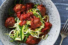 Spagetti af squash med oksekødboller