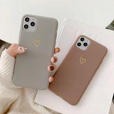 Matte Golden Heart Cases - iPhone 8 Plus / Brown