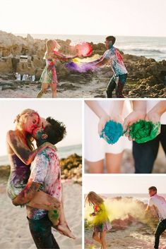 This paint fight engagement shoot is such a fun idea, and the photos look amazing! #weddingphotography