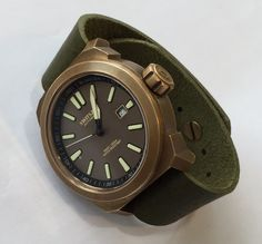 Technic-Blancier Full Bronze watch with Swiss Made Automatic Valanvron movement. Vintage green strap made from Italian leather