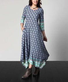 Another great find on #zulily! Blue Floral Handkerchief Maxi Dress - Plus #zulilyfinds