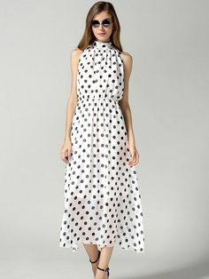 White, Polka Dot, Cut Away, Tie Front, High Neck, Maxi Dress