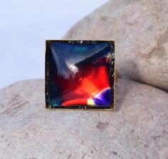 Fancy ring woman red modern design blue square  R10
