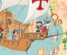 Loewie zit op het karveel van Columbus!  De opdracht bestaat deze keer uit 3 opdrachten:    1) Teken de route die Columbus aflegde op de wereldkaart.    2) in welk jaar ontdekte Columbus welk land?    3) Ken je nog 3 andere ontdekkingsreizigers?