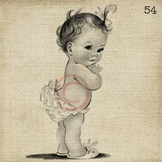 Adorable Vintage Baby Girl LARGE Digital Vintage Image by ptfy, $2.00 @Free Pretty Things For You