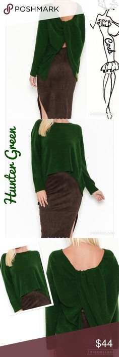 Coming Soon... Hunter Green Twist Back Top Hunter Green Twist Back Top. Top is robbed knit with long sleeves. Back is longer than front. Back has a twist. Sexy! 75% cotton, 20% poly, & 5% spandex. Size is Free. Will fit sizes Medium - XL Cosb Sweaters