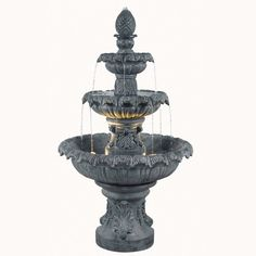 Filled to the brim with old world charm and elegance despite its relatively small size, this Costa Brava Outdoor Water Fountain features an ornate and tiered design in a metallic zinc finish. Water fl